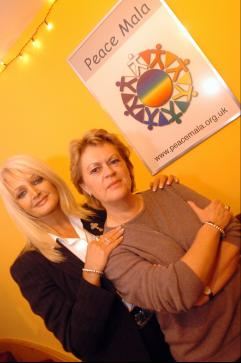 Bonnie Tyler and Pam Evans at the launch of the Bespoke Peace Mala and Awards for Youth